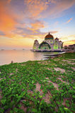 Majestic view of Malacca Straits Mosque during sunset with vibra Royalty Free Stock Photo