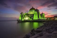 Majestic view of Malacca Straits Mosque during sunset with vibrance colour. Stock Photo