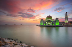 Majestic view of Malacca Straits Mosque during sunset with vibrance colour. Royalty Free Stock Photography