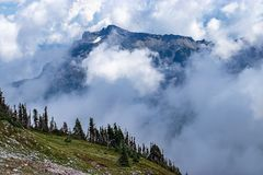 Majestic view of moutain peaks through clouds and fog. In summer royalty free stock images