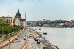 Majestic view of The National Hungarian Parliament building Royalty Free Stock Photos