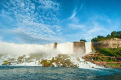 Majestic view on the Niagara Falls. In daylight from the water Stock Photos