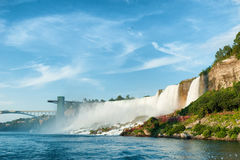 Majestic view on the Niagara Falls. In daylight from the water Royalty Free Stock Image