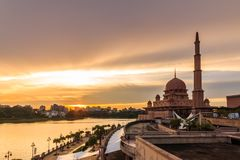 Putra Mosque, malaysia during sunset royalty free stock photography