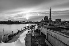 View of putra mosque, putrajaya, malaysia during sunset. Majestic view of putra mosque, putrajaya, malaysia during sunset royalty free stock photos