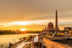 View of putra mosque, putrajaya, malaysia during sunset. Majestic view of putra mosque, putrajaya, malaysia during sunset stock photography
