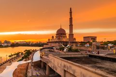 View of putra mosque, putrajaya, malaysia during sunset. Majestic view of putra mosque, putrajaya, malaysia during sunset stock photo