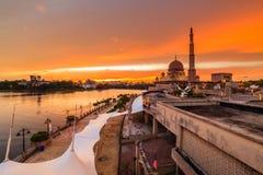 View of putra mosque, putrajaya, malaysia during sunset. Majestic view of putra mosque, putrajaya, malaysia during sunset stock image