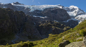 Majestic view of Rob Roy Glacier. Mount Aspiring National Park, New Zealand royalty free stock image