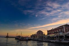 Dawn at the port of Chania in Crete Greece royalty free stock photography