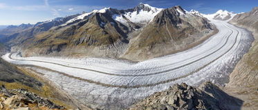 Majestic view to Aletsch glacier, the largest gracier in Alps an Stock Image