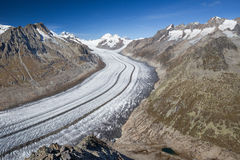 Majestic view to Aletsch glacier, the largest gracier in Alps an. D UNESCO herritage from Bettmeralp, Valais, Switzerland in Europe royalty free stock images