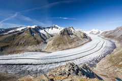 Majestic view to Aletsch glacier, the largest gracier in Alps an Stock Photos
