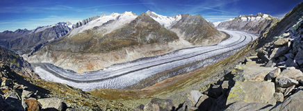Majestic view to Aletsch glacier, the largest gracier in Alps an Stock Photo