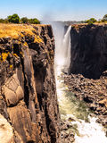 Majestic view of Victoria Falls. In dry season, Zimbabwe and Zambia royalty free stock photography