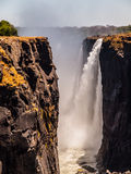 Majestic view of Victoria Falls. In dry season, Zimbabwe and Zambia stock photography