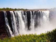 Majestic view of Victoria Falls. From Zimbabwe to Zambia side in dry season royalty free stock image