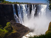 Majestic view of Victoria Falls. From Zimbabwe to Zambia side in dry season stock photography