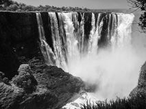 Majestic view of Victoria Falls. From Zimbabwe to Zambia side in dry season. Black and white image royalty free stock photos