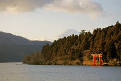 Majestic views of Mount Fuji and a shrine gate, Hakone, Japan Royalty Free Stock Photography