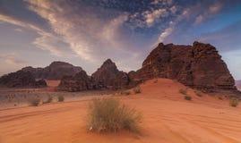 Majestic views of the Wadi Rum desert. Royalty Free Stock Images