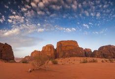 Majestic views of the Wadi Rum desert. Stock Photos