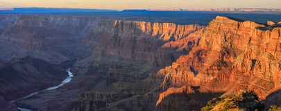 Majestic Vista of the Grand Canyon at Dusk. Beautiful Landscape of Grand Canyon from Desert View Point during dusk royalty free stock photography