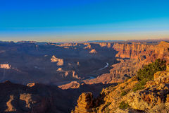 Majestic Vista of the Grand Canyon at Dusk. Beautiful Landscape of Grand Canyon from Desert View Point during dusk royalty free stock images