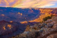 Majestic Vista of the Grand Canyon at Dusk Stock Photos