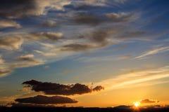 Majestic vivid sunset  over dark mountains Royalty Free Stock Photos