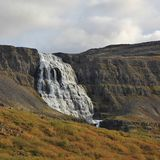 Majestic waterfall Dynjandi, also named Fjalfoss. Iceland. Waterfall in the west fjords of Iceland Stock Photography