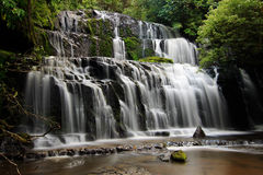 Majestic Waterfall, Purakaunui Falls, New Zealand Royalty Free Stock Image