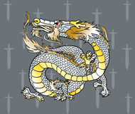 Majestic white Asian dragon on swords Stock Photography