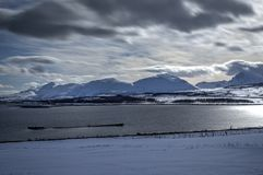 Majestic white field with snowy mountain and blue fjord in the arctic circle. Wilderness Stock Photography