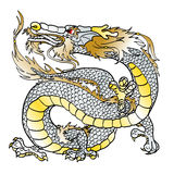 Majestic white metal Asian dragon. Simbol chinese new year, on white background Stock Photography