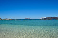 Majestic white springtime beach with snowy mountain islands Stock Images