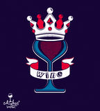 Majestic wineglass with monarch crown and curved ribbon, art gob Royalty Free Stock Photography