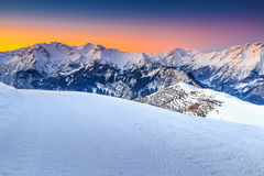 Majestic winter landscape and fantastic sunset,Alpe d Huez,France,Europe Stock Photo