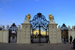 Majestic wrought iron gates. The Belvedere is a historic building complex in Vienna, Austria, consisting of two Baroque palaces (the Upper and Lower Belvedere) Royalty Free Stock Images