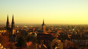 Majestic yellow sunset over the city Obernai, Alsace, France stock video