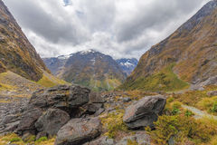 Majestueus Darran Mountains, Fiordland, Nieuw Zeeland royalty-vrije stock foto's