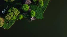 Majestueus satellietbeeld van meer in Jitra Maleisië stock footage