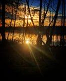 Majestueus zonsondergangmeer stock foto's