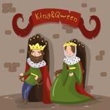 Majestueuze koning en koningin die in gouden kronen op houten tronen in kasteel, fairytale of middeleeuwse karaktersvector zitten royalty-vrije illustratie