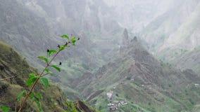 Majestueuze mening van bergen en valleien op de trekkingsweg op Santo Antao Island Mooie aanplantingsgebieden op heuvel stock video