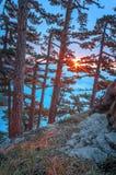 Majestueuze zonsondergang in het bergenlandschap Royalty-vrije Stock Afbeelding