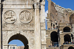 The majesty of Constantine's arch in Rome, Italy. Rome, Italy - October 20, 2014: the majesty of old ruins in Rome, Italy. Detail of Constantine's arch with the Royalty Free Stock Photos