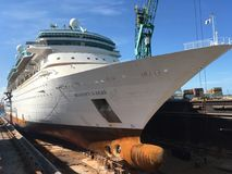 Majesty of the Seas in dry dock. Majesty of the Seas cruise ship in dry dock Royalty Free Stock Photo