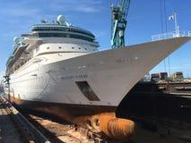 Majesty of the Seas in dry dock. Grand Bahama Shipyard Stock Photo