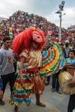 Majipa Lakhey die in Indra Jatra in Katmandu, Nepal presteren Stock Fotografie